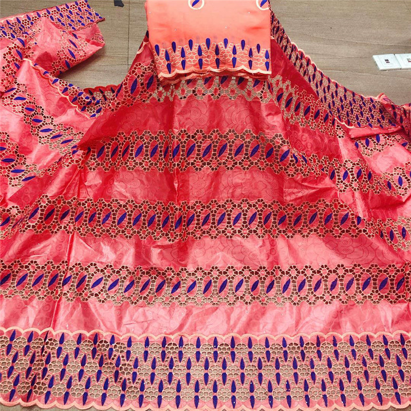 Африканская ткань bazin riche с brode, новейшая мода, базин с вышивкой и кружевом, ткань с сетчатым кружевом, 7 ярдов, HL053001