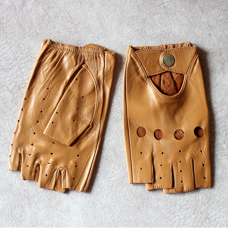 Leather Half-Finger Gloves Women's Thin Short Unlined Spring, Summer and Autumn Outdoor Motorcycle Riding Driving Fingerless
