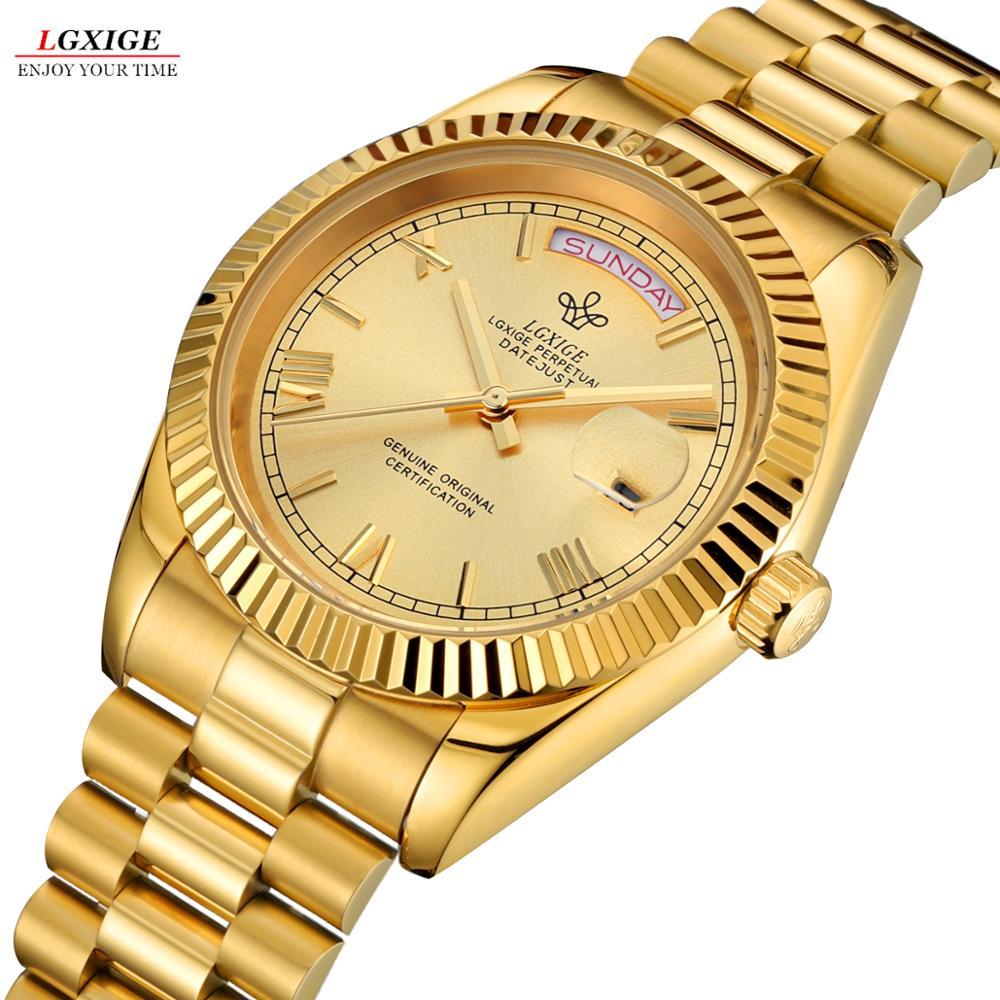 Fashion Brand LGXIGE Men Gold Automatic Mechanical Watch Stailness Steel Band Men Luminous Date Wristwatches