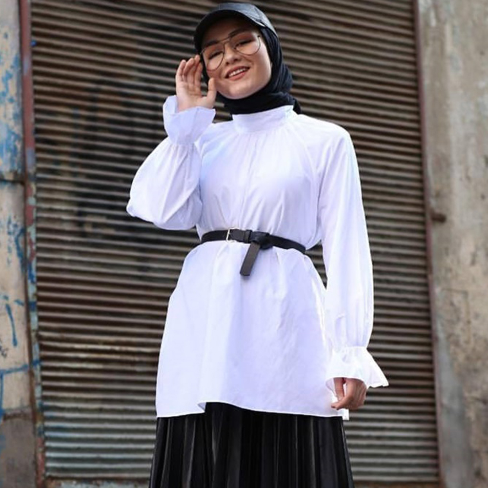 Siskakia White Shirt Muslim Women Turtleneck Flare Long Sleeve Shirt All Match Loose Plus Size Arabian Turkish Tops Female 2020