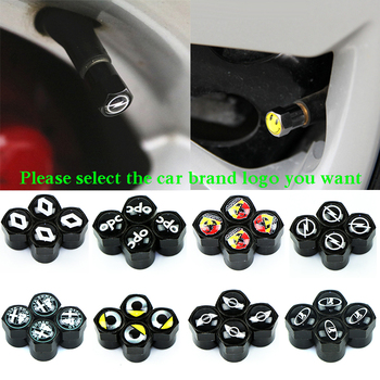 4Pcs Black Metal Car Wheel Tire Air Valve Caps Stem Cover with Color Brand Logo for Audi Vw Fiat Hyundai Opel Ford Skoda Saab image