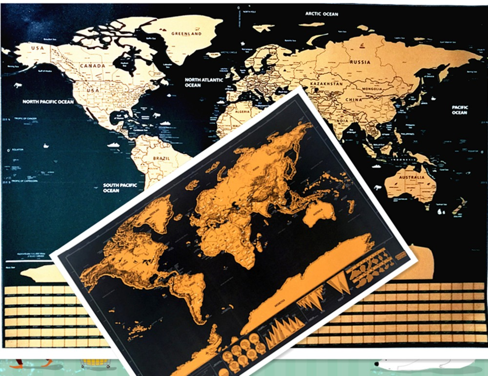 Retro Kraft Pirate Sailing World Map Poster Wall Sticker Living Room Paint Bar Cafe vintage deluxe Scrape off maps