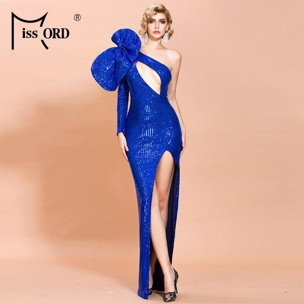 Missord 2020 Women Sexy Irregular Neck  Hollow Out Sequin Dresses Female Bowknot High Split Maxi Dress Maxi Dress FT19870