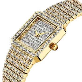 MISSFOX Diamond Watch For Women Luxury Brand Ladies Gold Square Watch Minimalist Analog Quartz Movt Unique Female Iced Out Watch 8