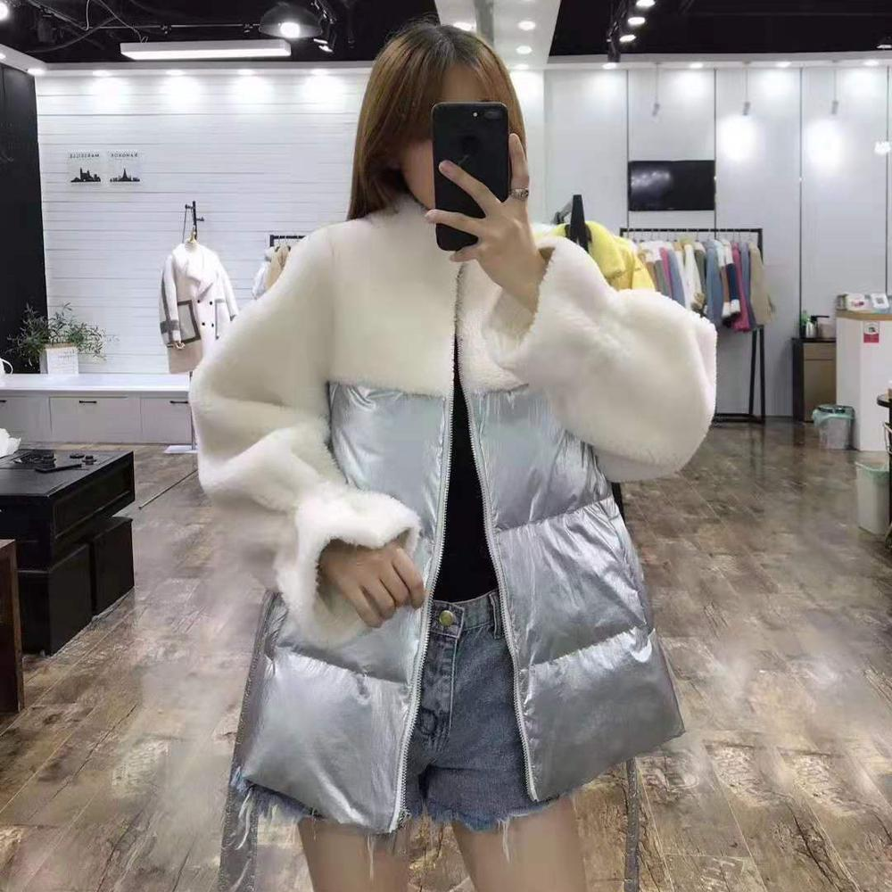 Down Jacket 2020 New Arrival Women Coat Winter Patchwork Wool Blends High Quality Clothing With Belt Synthetic Sheep Fur Parka