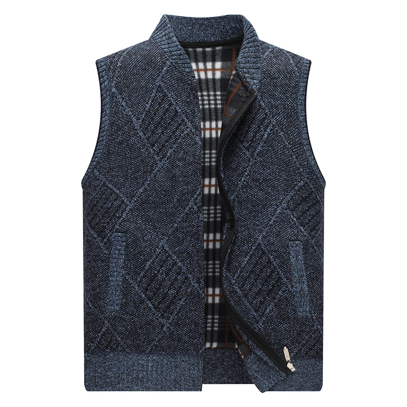 mens Sweater Vest Geometric Winter Full Cardigan Sweater men Clothes Knitted Sleeveless Fleece Men's Coats Zipper with pockets
