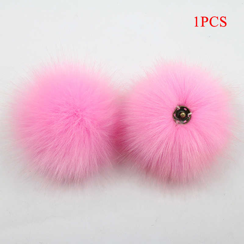New DIY Colorful 10cm Dark buckle Faux Fox Fur Pompom For Women Hat Multicolor Fur Pom Poms for Knitted Hat Cap Shoe Accessories