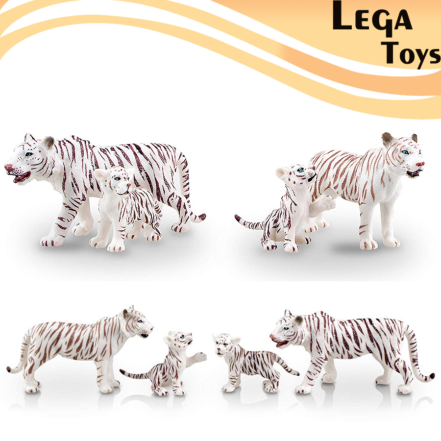 Figurines Tigers Collection-Toys Forest-Animals Realistic Model with Playing Cubs White