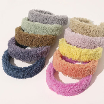 Winter Lamb Wool Wide Hairbands Winter Soft Plush Women Headband Candy Color Hair Hoop Women Faux Fur Head Hoop Hair Accessories image