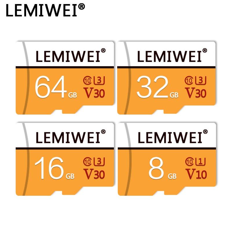 LEMIWEI Memory Card 64GB 32GB 16GB V30 U3 High Speed Class 10 UHS-I TF Flash Card 8GB V10 U1 For Smartphone PC