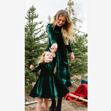 Hot Korean Velvet Long Sleeve Family Dress Mommy and Daughter Matching Clothes Spring Autumn Mom Me Dresses Fashion Women Girl