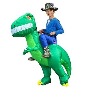 Image 3 - Costume de dinosaure gonflable pour adulte, Costumes de dinosaure T REX, Blow Up, déguisement Cosplay mascotte Dino de dessins animés, pour hommes, femmes et enfants