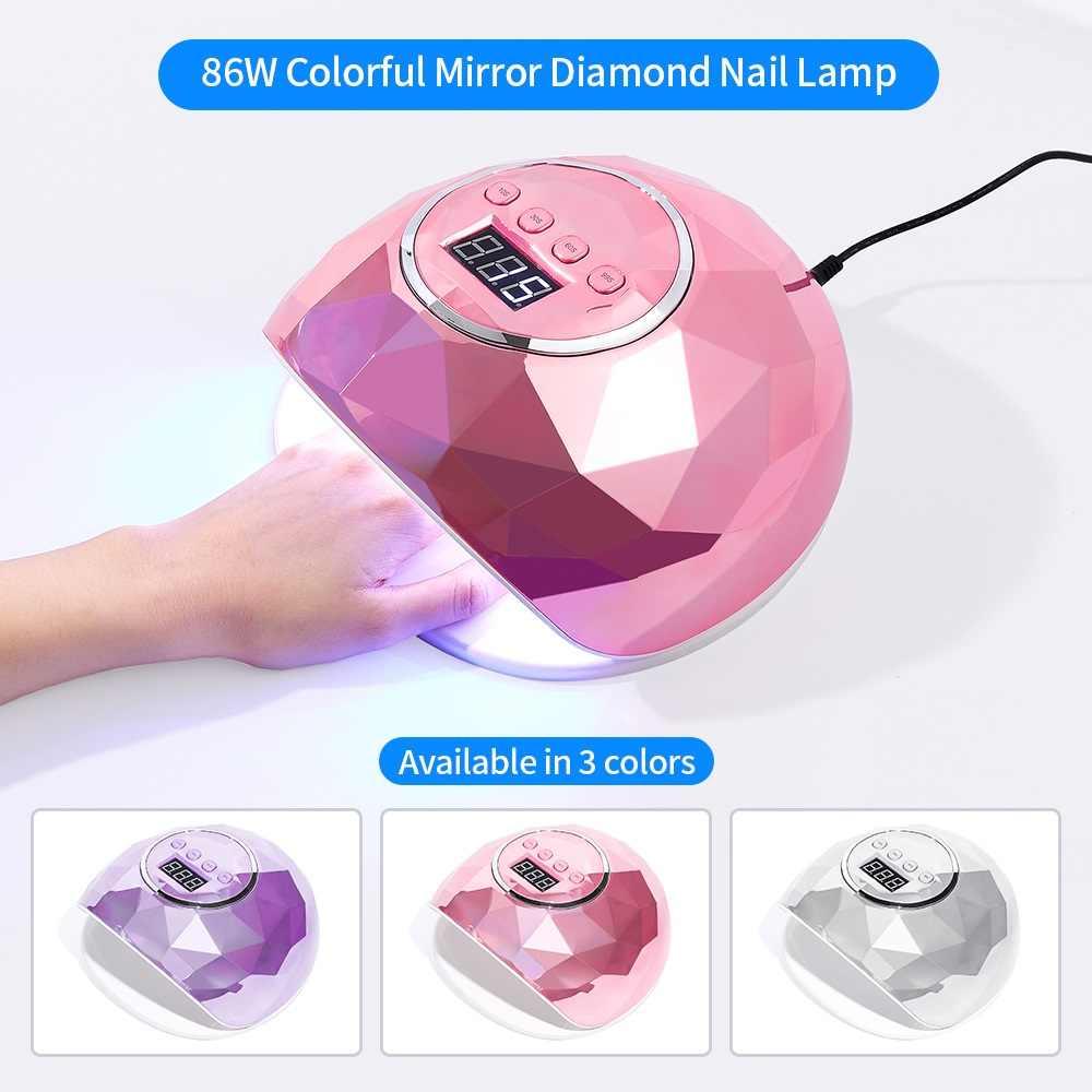 86W 39 LED Lampade Essiccatore Del Chiodo Laser Colorato Riflettente Disegno Irregolare UV Lampada Del Chiodo Del LED UV Del Gel Del Chiodo Veloce asciugatura rapida Unghie Artistiche Strumenti