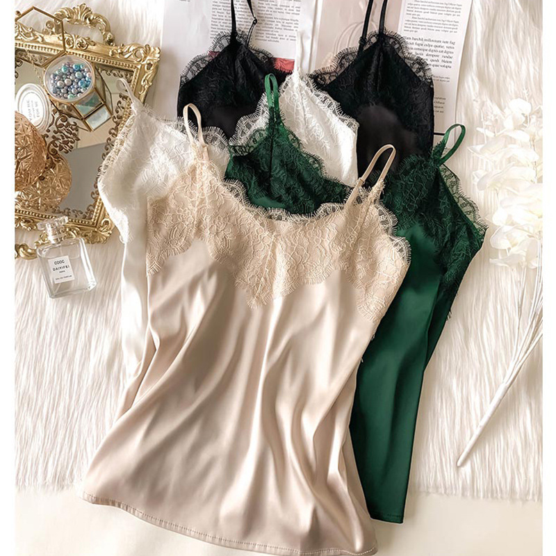 Sexy Lace Camisole Women Silk V-neck Tops Summer New Sleeveless Casual Tank Tops Female Slim Soft Satin Basic Tops Plus Size