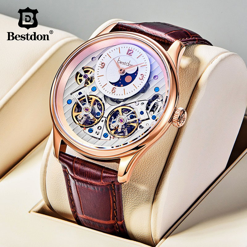 Bestdon Double Tourbillon Watch Men Automatic Mechanical Watches Skeleton Waterproof Switzerland Watch Man Top Luxury Brand 7164