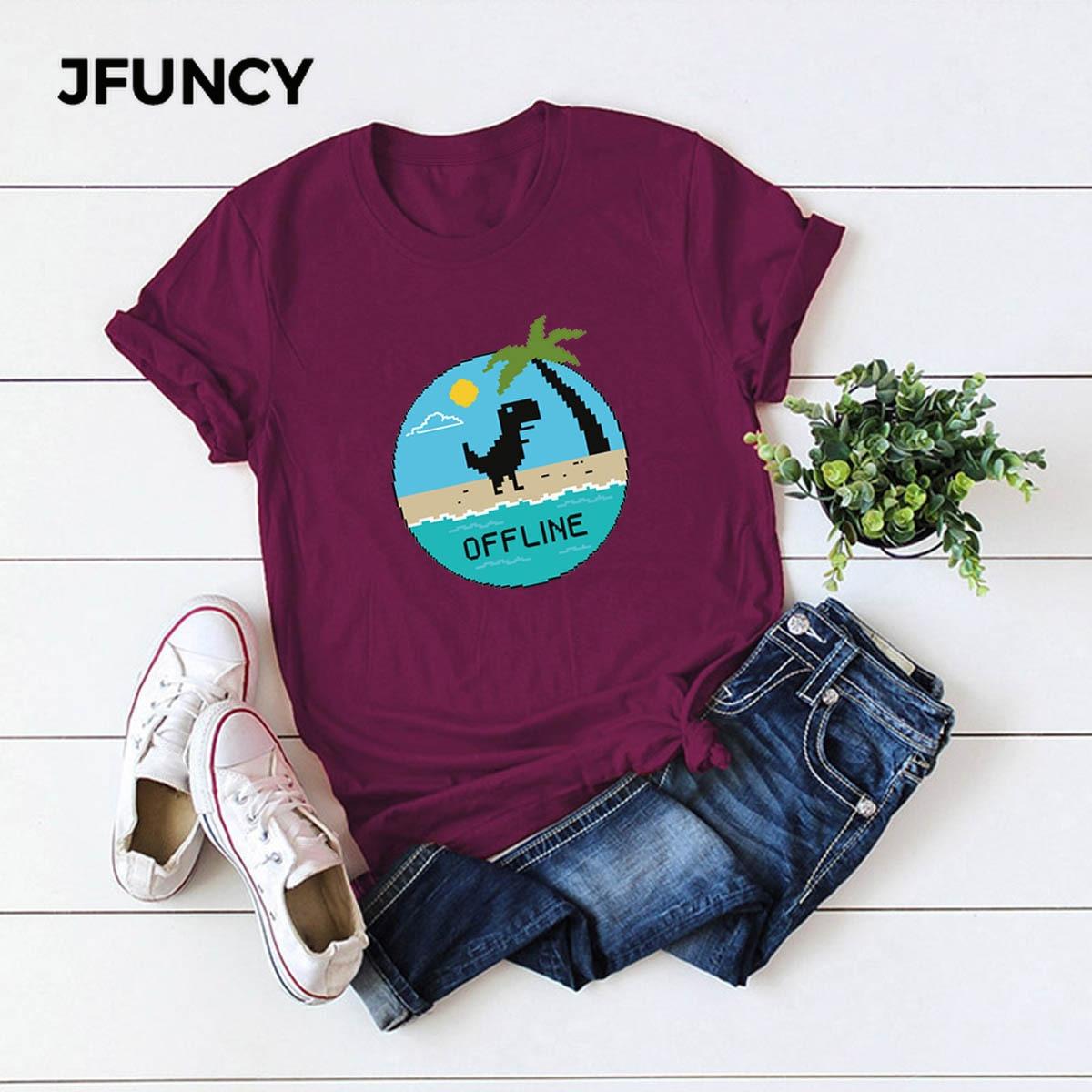 JFUNCY Funny Dinosaur Graphic Tees Women Tops 100% Cotton Summer T-shirt Plus Size Short Sleeve Woman Shirts Lady Casual Tshirt