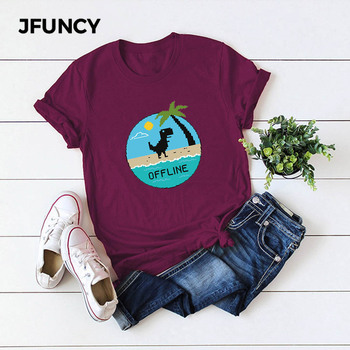 JFUNCY Funny Dinosaur Graphic Tees Women Tops 100% Cotton Summer T-shirt Plus Size Short Sleeve Woman Shirts Lady Casual Tshirt jfuncy funny hedgehog print plus size women t shirt woman t shirt summer cotton short sleeve female tees lady tops casual tshirt