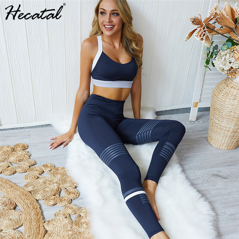 HECATAL Gym Clothing Yoga Set Tracksuit For Women Bras Padded Leggings Sets 2 Pieces Sports Suits Female Ropa Deportiva Mujer