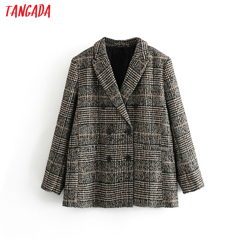 Tangada Women Autumn Winter Double Breasted Suit Jacket Casual Ladies Vintage Plaid Blazer Pockets Tops 3H158