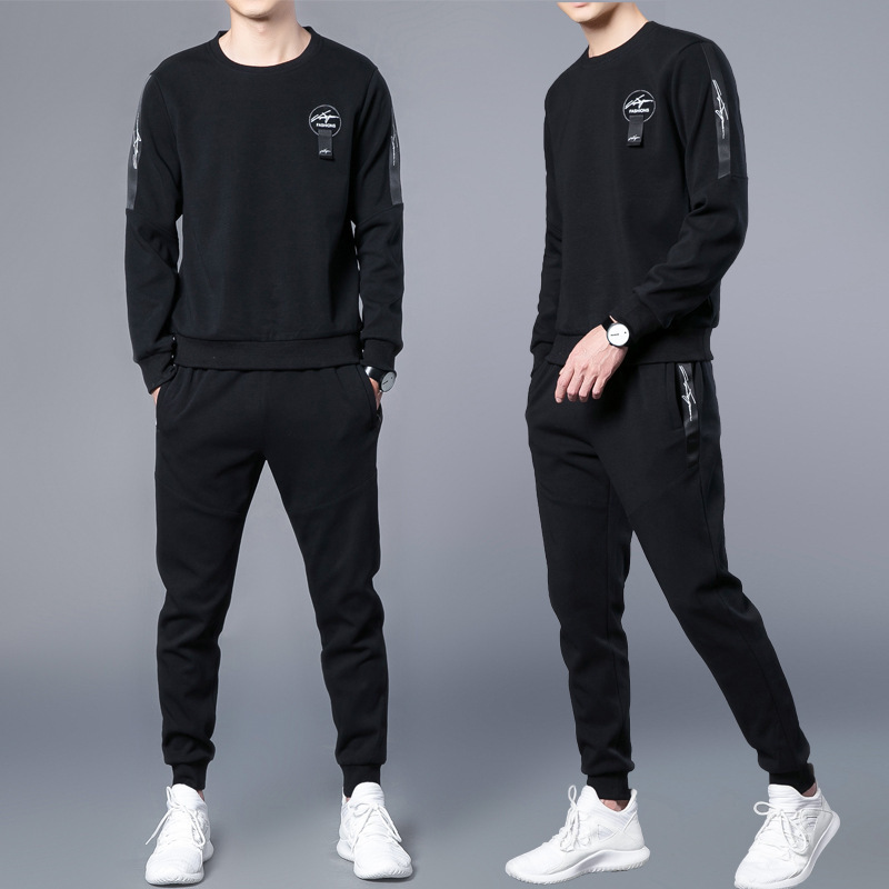 2020 New Fashion Spring Autumn Casual Sports Sweater Suit Men's Long-sleeved Set Men's O-neck Hoodies Cropped Pants Men Coat