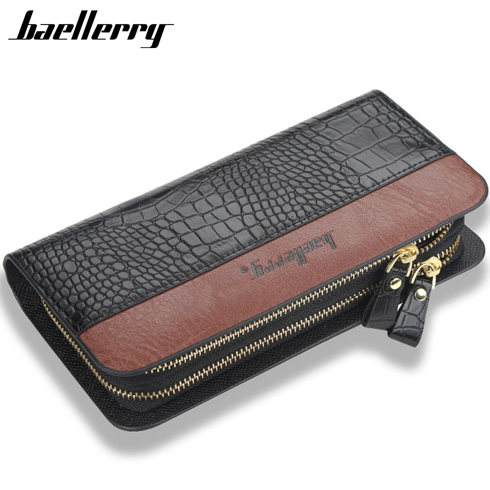 2020 New Men Clutch Wallets Crocodile Pattern PU Leather Large Capacity Zipper Hand Strap Men Wallet Business Solid Male Purses