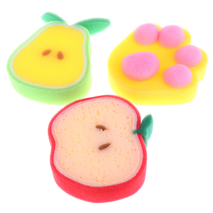 3pcs Fruit Shaped Bath Sponge For Body Cleaning Lovely Baby Body Sponges Scrubbers Shower Sponge For Children Kids