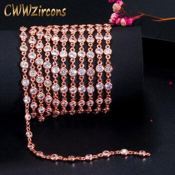 CWWZircons 1 metr złoty kolor Handmade cyrkonia naszyjnik z koralików bransoletka na kostkę Link Chain dla DIY ocena biżuteria D002