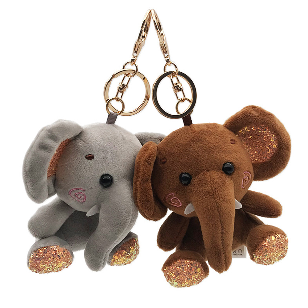 Elephant <font><b>Plush</b></font> Stuffed Mini Doll Pendant Keychain <font><b>Key</b></font> <font><b>Chain</b></font> Holder Bag Decor Animals Fluffy Bear <font><b>Toy</b></font> gifts Bag Keychain <font><b>Key</b></font> Hold image
