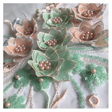 3D flower sequin embroidery cloth paste beaded mesh yarn lace patch denim clothes decoration accessories handmade DIY wedding