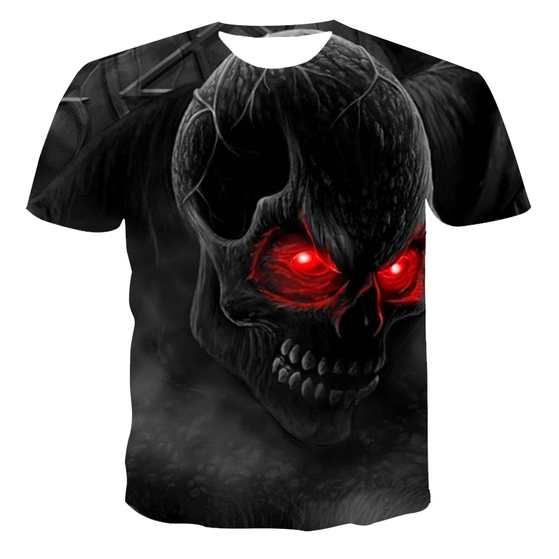 2020 summer new European and American men and women 3D short-sleeved t-shirt printing personality creative skull style