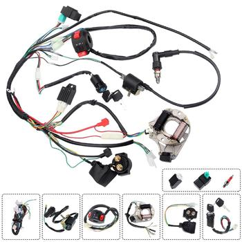 1Set Full Complete Electrics Wiring Harness CDI STATOR 6 Coil For Motorcycle ATV Quad Pit Bike 50 70 90 110 125cc Wiring Harness for 50cc 110cc 125cc pit quad dirt bike atv motorcycle cdi wiring harness loom solenoid ignition coil rectifier