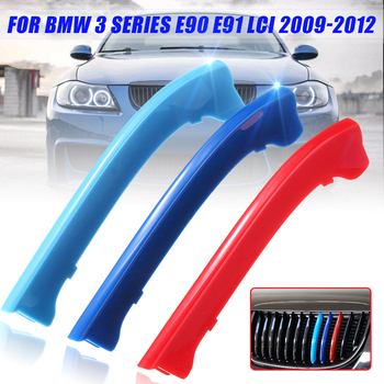 3pcs M Color Front Grille Stripe Cover Trim Grill Strips Decor For BMW 3 Series E90 E91 LCI 2009-2012 image