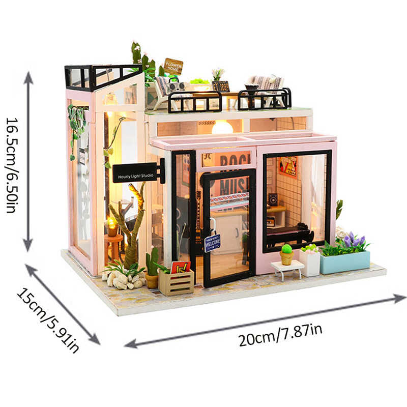 New DIY Dollhouse Wooden Miniature Doll House Furniture Kit Casa Music Led Toys for Children Birthday Christmas Gifts