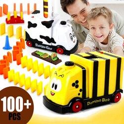 Automático domino tijolo que coloca brinquedo trem carro motorizado pista blocos até carro pai-filho interativo brinquedo criativo presente