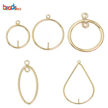 Beadsnice Gold Filled Hoop Chandelier Earring Component Jewelry Supplies Teardrop Half Hammered Shape 39839