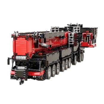 7068Pcs Moc Small Particles 1:20 2.4G RC Mobile All-terrain Crane Building Blocks Construction Vehicle Model - Red