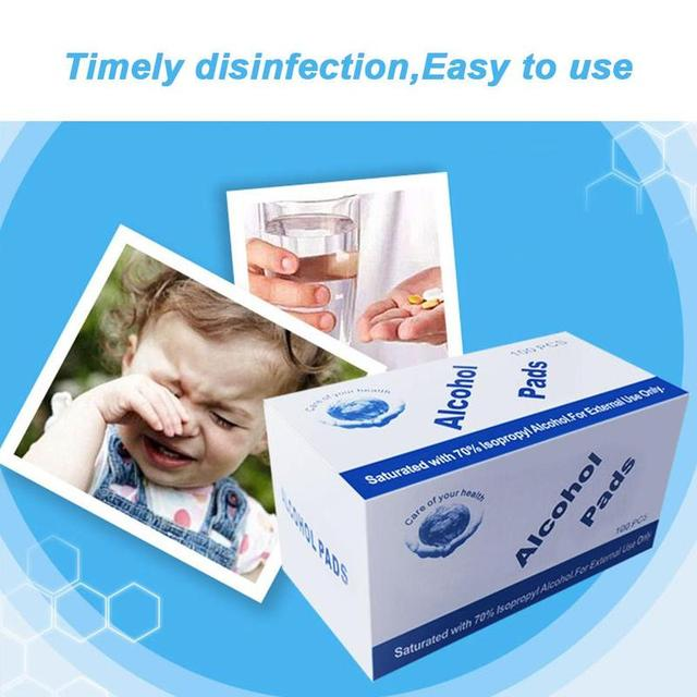 3X100Pcs/lot Alcohol Wet Wipe Disposable Disinfection Swap Pad Antiseptic Skin Cleaning Care First Aid Jewelry Phone Clean Wipe 4