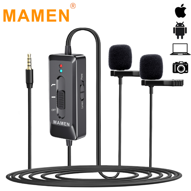 MAMEN Dual-Head Clip On Lapel Microphone Lavalier Omnidirectional Condenser Recording Mic For IPhone Sumsang DSLR Camera Phone