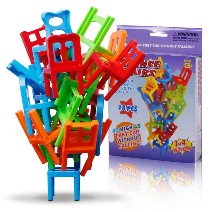 Plastic Balance Toy Stacking Chairs for Kids Desk Play Game Toys  Educational Toy Balance Stacking Chairs Office Game 30N21