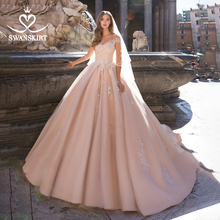 Wedding Dress Pink Appliques A Line Sweetheart Lace up Vestido de Noiva 2020 New Swanskirt S120 Customized Illusion Bride Gown