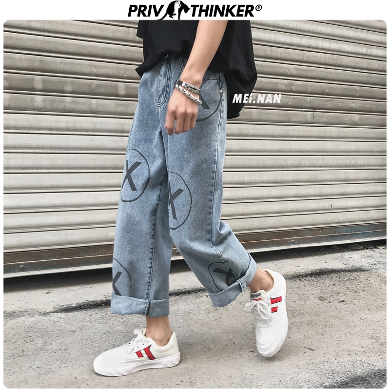 Privathinker Vintage Print Hip Hop 2020 Mens Jeans Spring Summer Fashion Denim Pants Man Casual Straight Jeans Collage Clothes