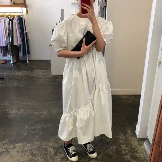 Vintage Loose High Waist Elegant Puff Sleeve Maxi Dress 3