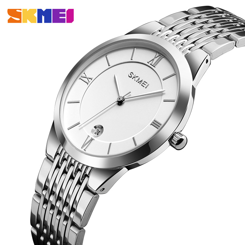 Fashion Couple Watch Brand SKMEI Wristwatch Waterproof Stainless Steel Women's Watch Men Watches Date Display Clock Reloj Hombre