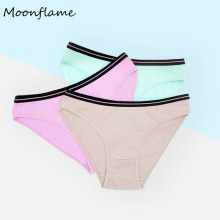Moonflme 3 pcs/lots New Arrival 2019 Cotton Solid Color Women Briefs Panties 89261