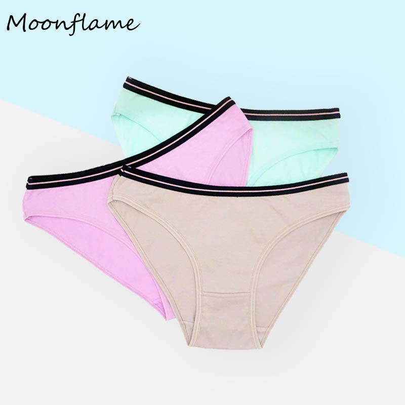 Moonflme 3 Pcs/lots New Arrival 2020 Cotton Solid Color Women Briefs Panties 89261