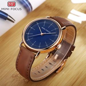 Image 3 - Montres à Quartz hommes 2020 imperméable marque de luxe homme montre classique robe mode décontracté bracelet en cuir véritable MINI FOCUS