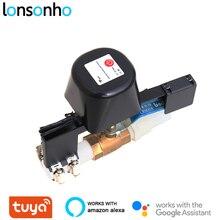 Lonsonho válvula de água inteligente, válvula de gás tuya inteligente, wi fi, controle remoto sem fio, aplicativo smart life, automação da casa, alexa, google home