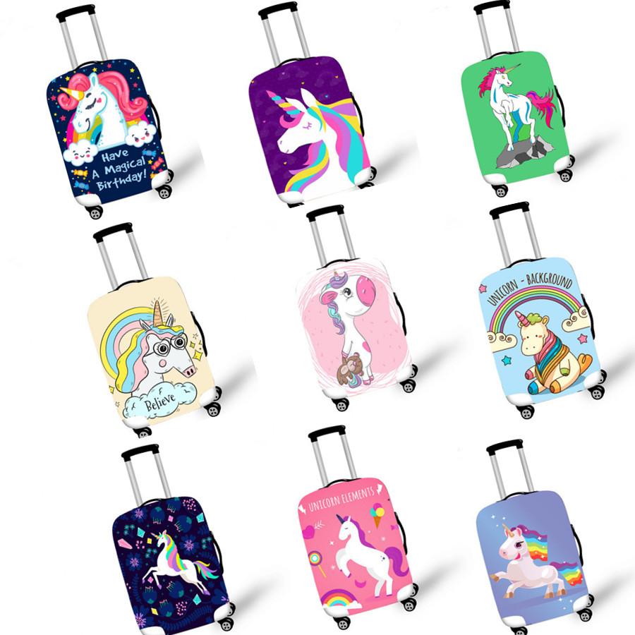 High Elastic Unicorn Luggage Protective Cover For 18-32 Inch Suitcase Protect Dust Bag Case Cartoon Travel Accessories