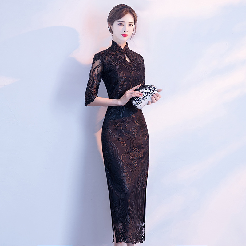 Chinese Lady Style Cheongsam Exquisite Black Flower Qipao Retro Long Slim Evening Party Dress Persepective Sleeve Robe De Soiree