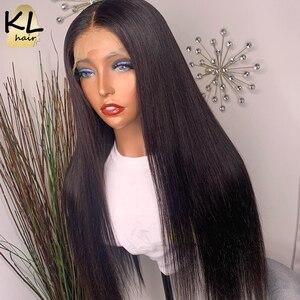 Image 2 - KL dantel ön İnsan saç peruk düz ön koparıp bebek saç 8 26 brezilyalı Remy 130% yoğunluklu 5 Derin bölümü T parçası dantel peruk